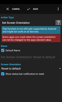 Action - Set Screen Orientation